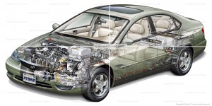Generic Hybrid Gas/Electric Car, Vehicle Cutaway by Kevin C. Hulsey
